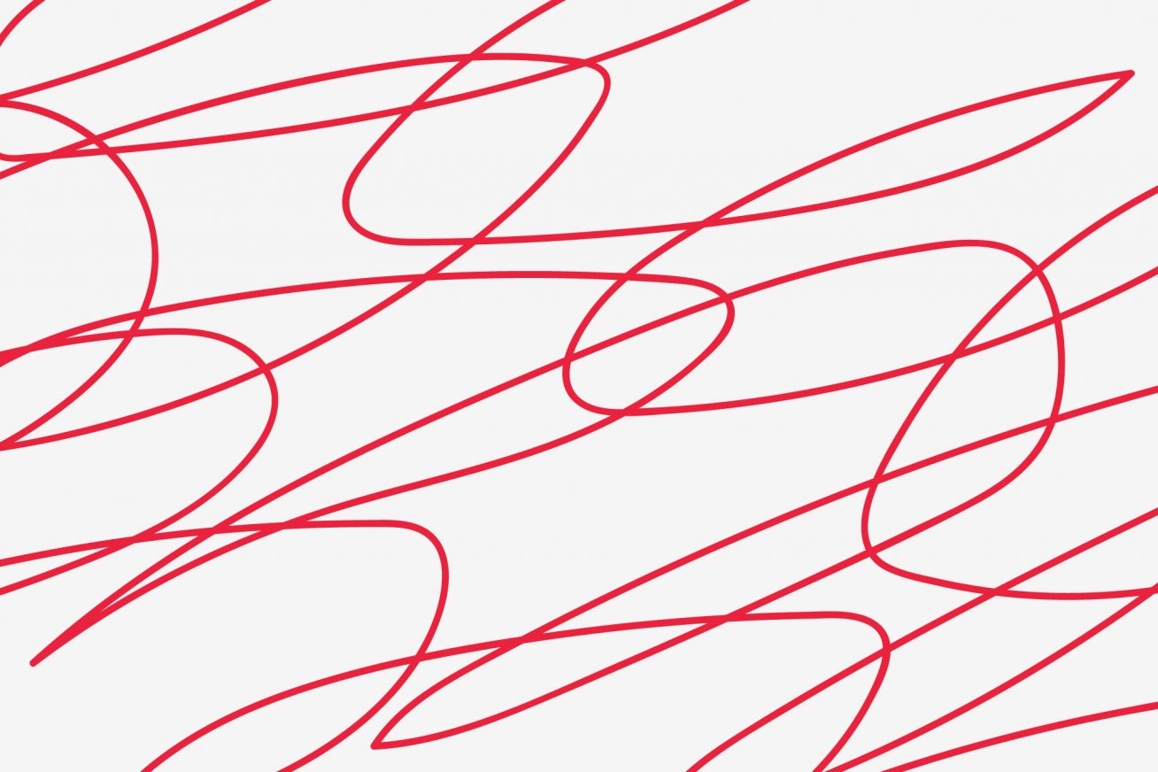 White background, red squiggle