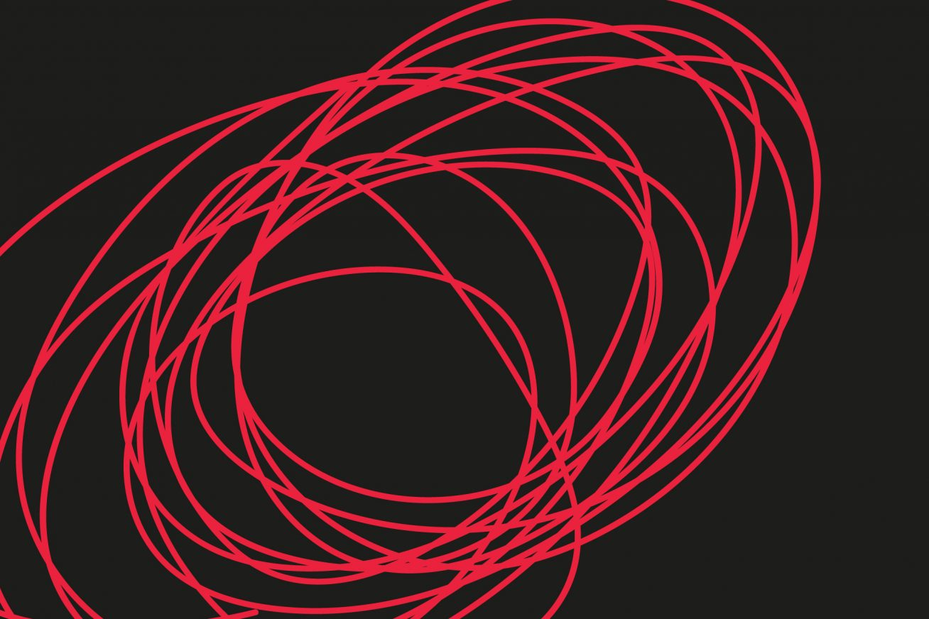 Black background, tight red squiggle