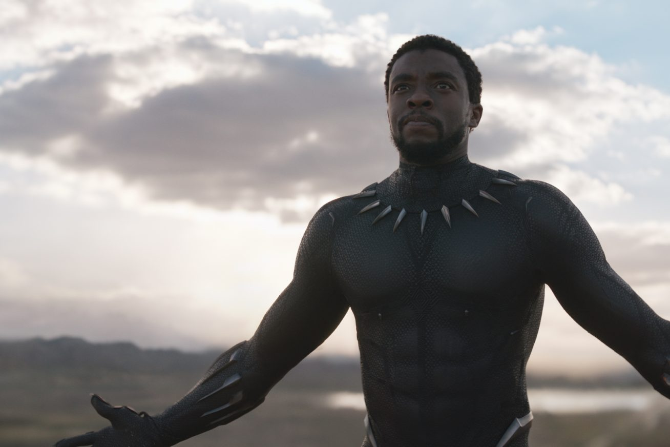 Against a big, light blue sky and an African horizon, a very muscular black man in a high-tech armoured suit spreads his arms and puffs out his chest. The still if from Marvel Studio's Black Panther.