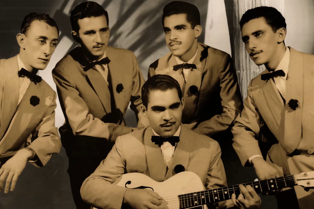 An old-fashioned sepia image of a Brazilian band in old-school suits and bow ties in this still from Me, My Father and the Cariocas.