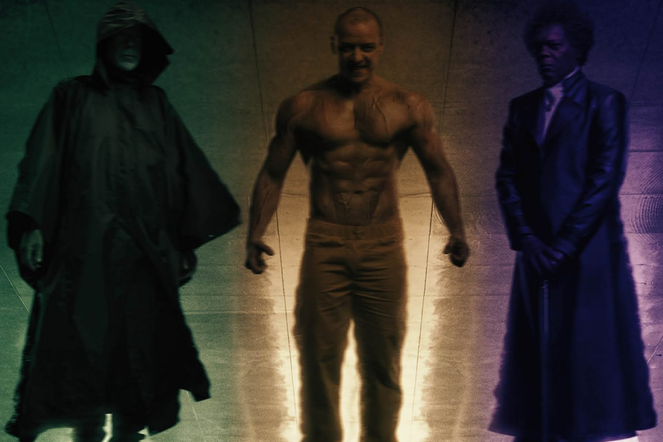 In the reflection of a shiny tiled floor, the reflection of three men shines. On the left, there is a dark hooded man, with his section reflection turning green. In the middle, there is a muscly topless man wearing trousers, his part of the reflection turning yellow. On the right, there's a suited man standing there with a cane - his part of the reflection turning purple. The image is from M. Night Shyamalan's Glass.