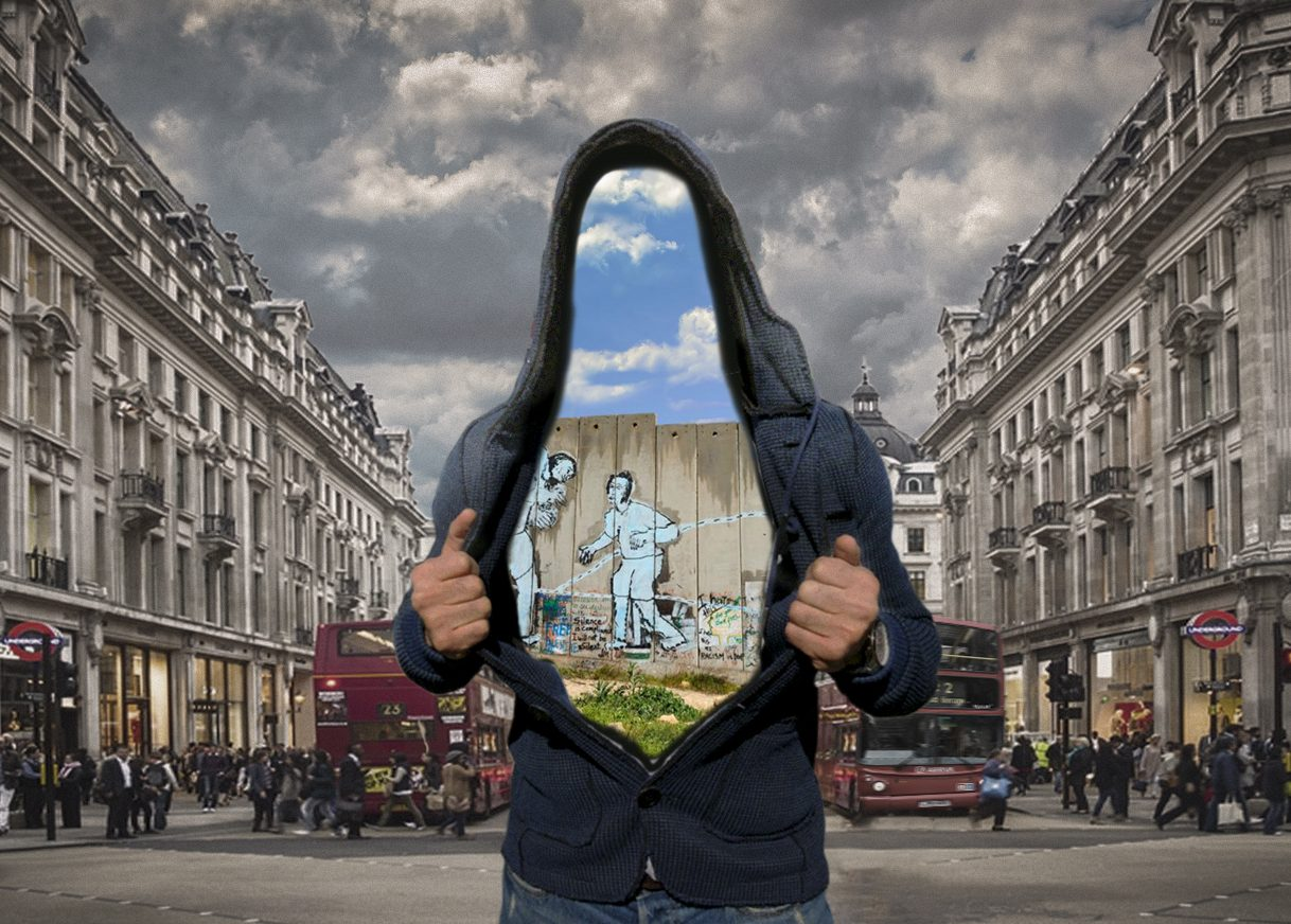 A person stands on Picadilly Circus with their hoodie open, and inside his hoodie is a view of his past life