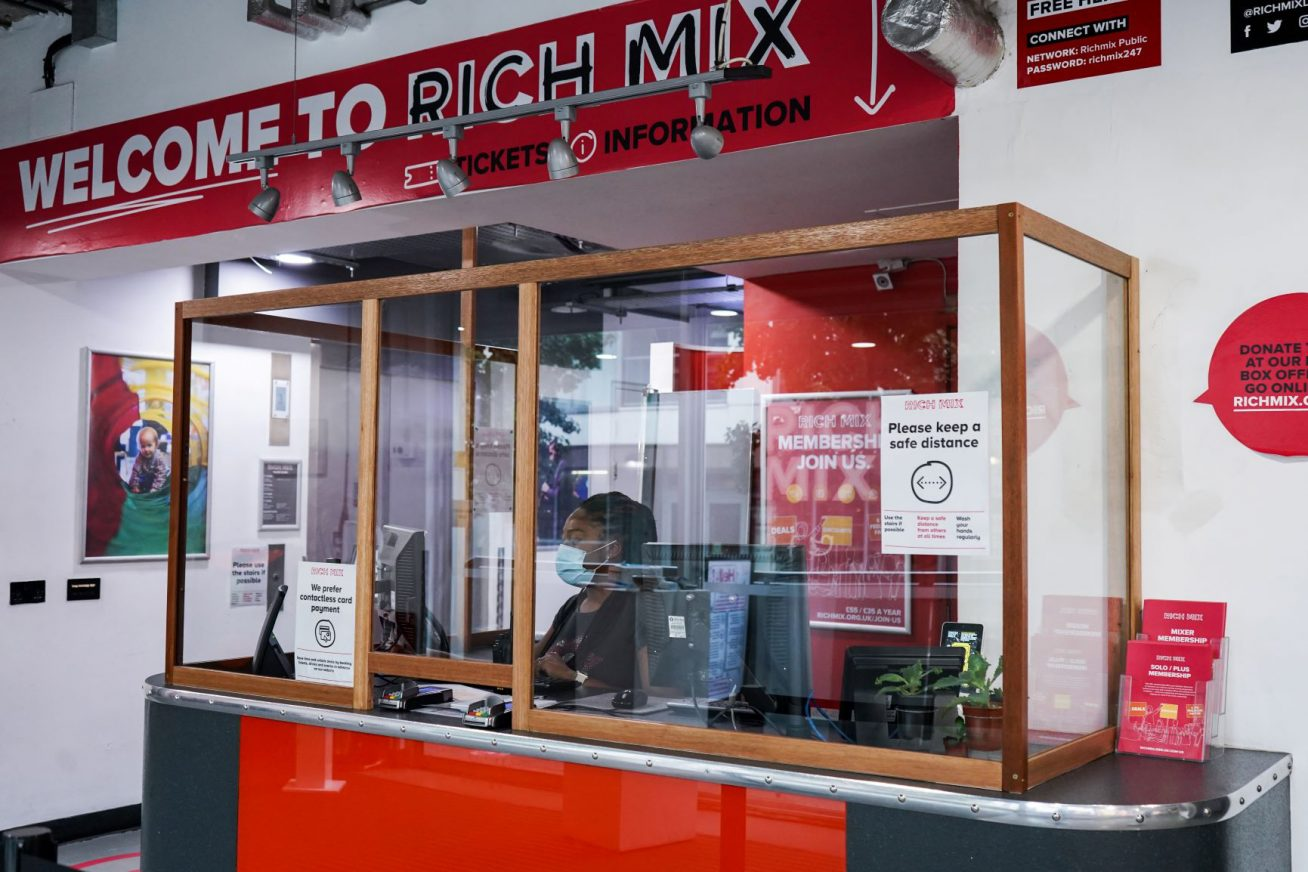Rich Mix foyer with COVID safety signage