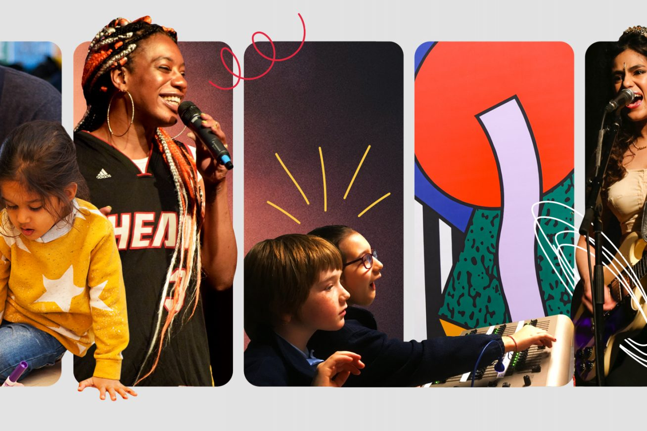 5 portrait images side by side in frames - 1) a dad and his young child who is in a bright yellow jumper concentrating on something in her hand, 2) a woman with colourful braids and large hoops with a mic raised to her mouth, 3) two school children with their hands outstretched onto a lighting desk, 4) abstract shapes in lilac red and blue, 4) a woman with long hair playing a guitar and singing